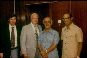 Dr. Serour (right) joins Jhpiego's Ron Magarick (far left) and other colleagues in a 1980 photo.
