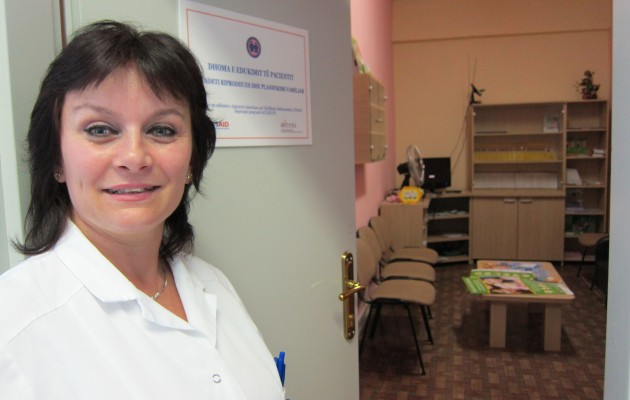 Head Nurse-Midwife Laureta Ramaj of the Postpartum Department at Koco Gliozhen Maternity Hospital outside the family planning resource center she established in the maternity ward.