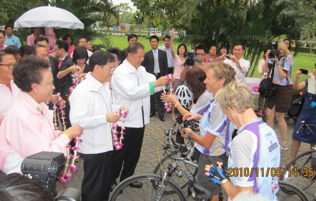 Bicyclists receive congratulations for riding in the Fifth Annual Tour of Hope in Thailand.