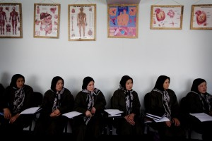 Midwifery students in Afghanistan attending class.