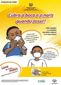Health care facilities in Mozambique post reminders on cough etiquette.