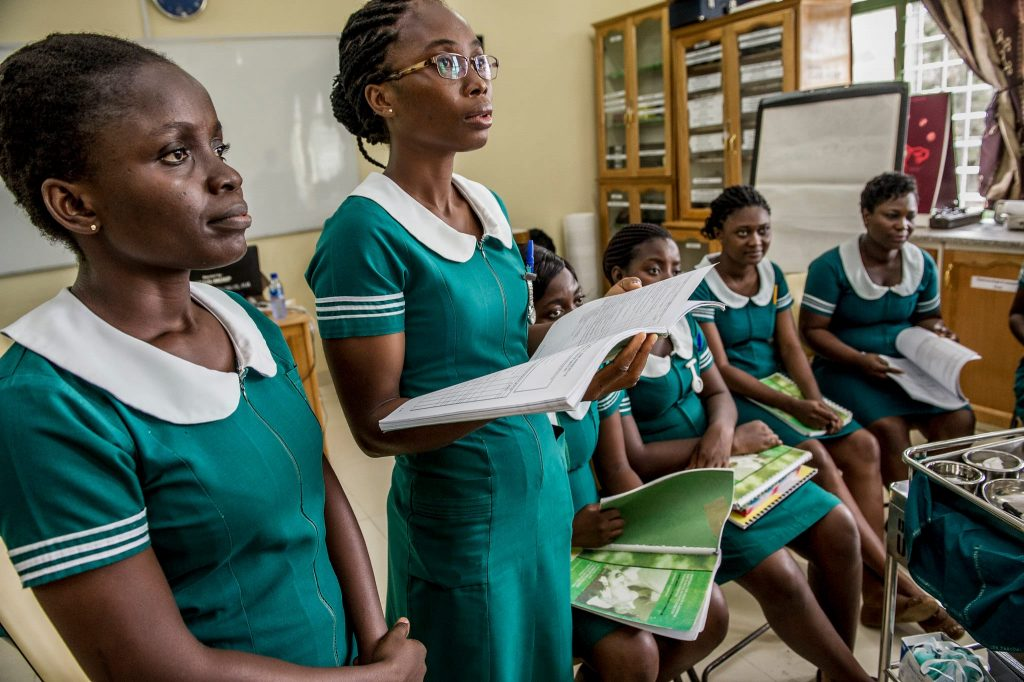 Midwifery students in a classroom.