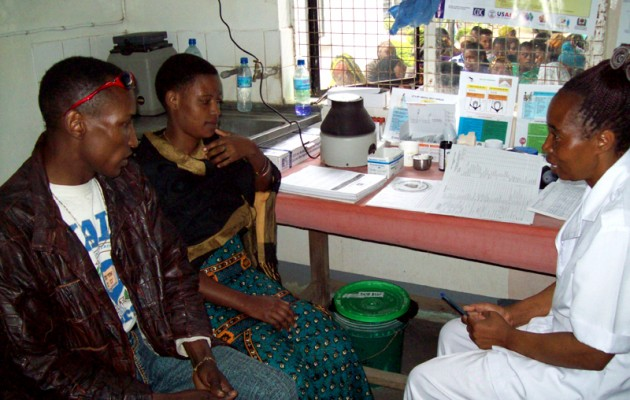 Couple are counseled on prevention of mother-to-child transmission of HIV, birth planning, prevention of malaria during pregnancy, nutrition and danger signs in pregnancy.