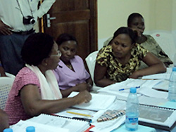 A group of health providers discuss what they have learned in the trainings to improve maternal health care.