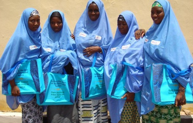 Jhpiego-trained household counselors deliver health messages to women in three states in northern Nigeria.