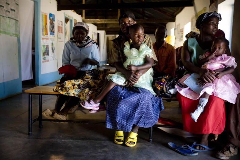 Mothers and their daughters wait to be seen at a rural health clinic near Narok, Kenya.