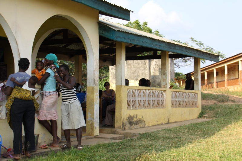 Clients wait to receive care at the Akwidaa CHPS center, one of 18 such facilities to benefit from a Jubliee Consortium-funded project to strengthen health services.