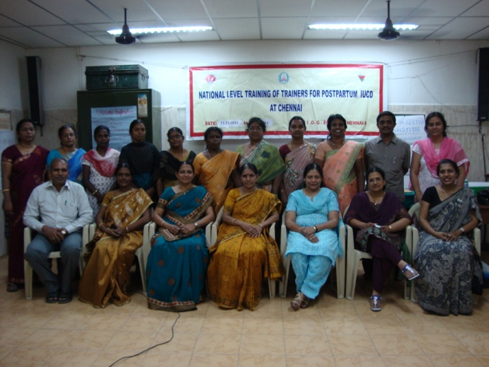 Participants in a national training of health providers in Chennai, India, who now have the skills to train others in insertion of a postpartum intrauterine contraceptive device.