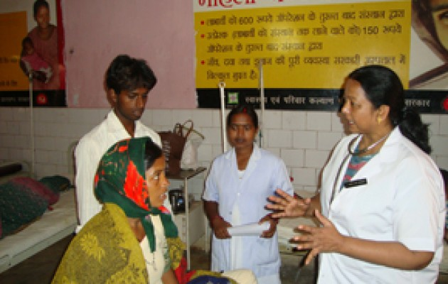 r. Kiran Marandi (right profile) and Sister Binderswari, a nurse midwife, are championing postpartum family planning services in the District Hospital in Lohardaga, one of the poorest areas of Jharkhand state. They were trained in these lifesaving services through USAID's flagship global Maternal and Child Health Integrated Program.