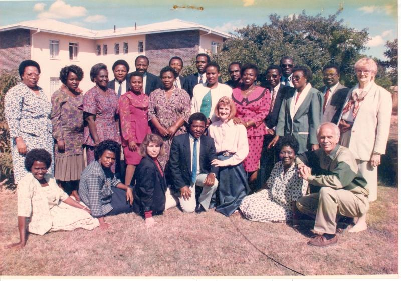 Ms. Tatiana Ndondo, South Africa, Late Ms. Dorothy Andere, Kenya, Ms. Gladys Kankam, Ghana, Dr. Richard Lema, Tanzania, Late Ms. Luna Ncube, Zimbabwe, Mr. Ben Zulu, Zimbabwe, Ms. Eunice Meskano, Zimbabwe, Prof. Emmanuel O. Otolorin, Facilitator, Nigeria, Dr. James Machoki, Kenya, Ms. Sibusisiwe Ngwenya, Zimbabwe, Dr. A. T. Kapesa, Tanzania, Ms. Abigail Kyei, Ghana, Dr. Ben Foleson, Ghana, Prof. Robert Leke, Cameroon, Ms. Thenjiwe Makonva, Zimbabwe, Dr. Adeyemi Adekunle, Nigeria, Late Ms. Jackie Frazier, Jhpiego-USA Sitting: Left to right Ms. Lydia Cege, Kenya, Ms. Helen Williams, Nigeria, Ms. Emily Sullivan, USA, Dr. David Kihwele, Kenya, Ms. Judy Wright, South Africa, Late Dr. (Mrs) Ayo Akiwumi, Facilitator, Ghana, Dr. Richard Sullivan, Facilitator, USA