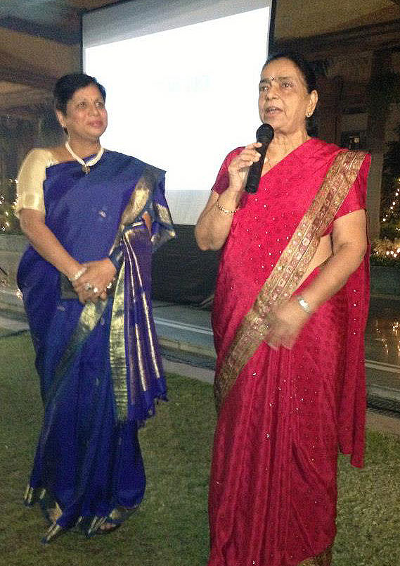 Dr. Chandrawati (right), appearing with Dr. Bulbul Sood (left), India Country Director, at a special Jhpiego reception in Delhi. She was among the Jhpiego alumni recognized for their work in preventing the needless deaths of women and families in India.
