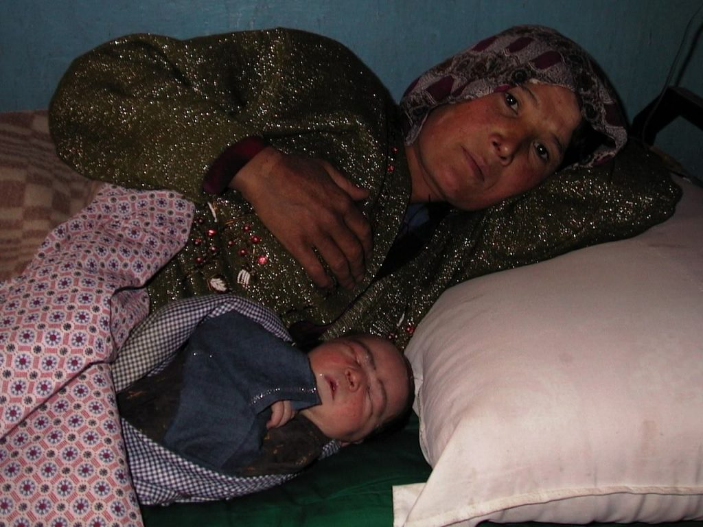 New mother lying in bed with newborn.
