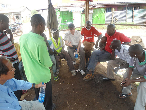 Vasectomy expert Dr. Doug Stein conducting a health discussion on vasectomy at a male base in Kona Maji, Manyatta.