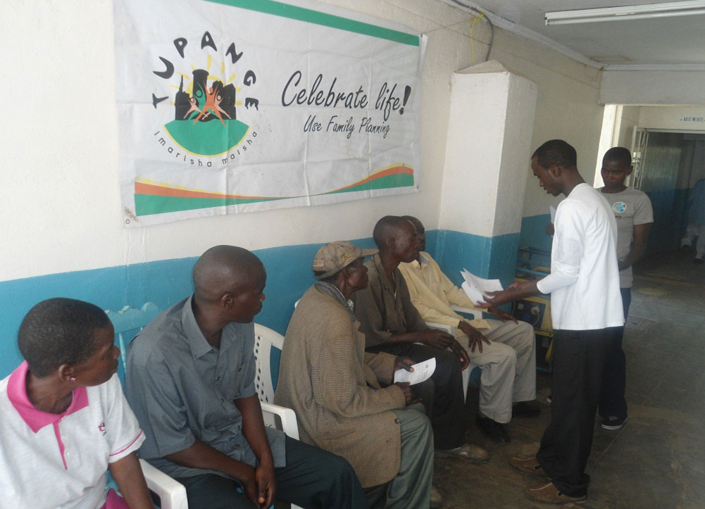 Male clients waiting for vasectomy services at Marie Stopes Kisumu.