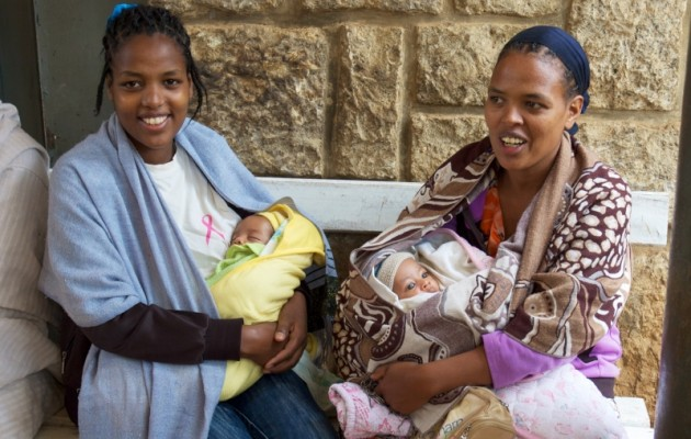 Bezawit Tadesse (right) and Frehiwot Bogale (left) both delivered their babies in the hospital's refurbished maternity ward and have returned for a follow-up visit with questions about breastfeeding.