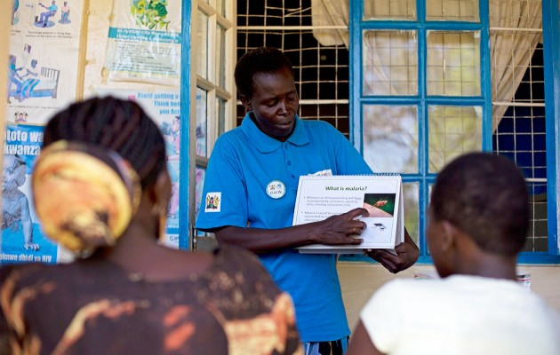 Francisca Aluoch, a health worker from the Got Matar Health Clinic in the Bondo district, educates local women on malaria prevention.