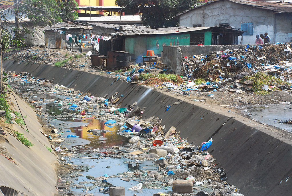 An example of Liberia's challenges in waste management and sanitation.
