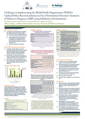 Challenges in Implementing the World Health Organization Updated Policy Recommendation on Use of Intermittent Preventive Treatment of Malaria in Pregnancy