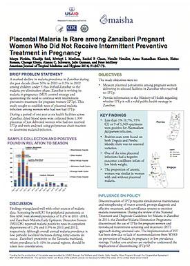 Placental Malaria Is Rare among Zanzibari Pregnant Women Who Did Not Receive Intermittent Preventive Treatment in Pregnancy