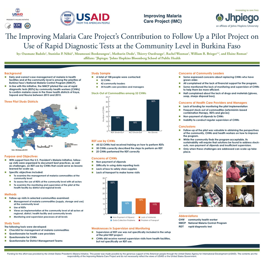 The Improving Malaria Care Project's Contribution to Follow Up a Pilot Project on Use of Rapid Diagnostic Tests at the Community Level in Burkina Faso