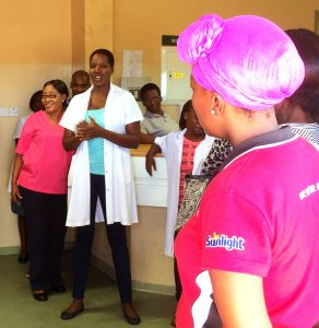 Botswana women gather at a health facility for a Jhpiego-supported group counseling session on cervical cancer prevention and screening. Photo by John Varallo/Jhpiego.