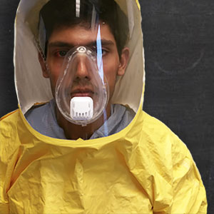 a breakaway ebola suit that slips off in one piece