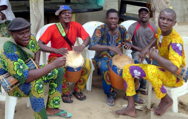 Drummers establish the beat at Ganvie village on Lake Nokoue near Cotonou, Benin.