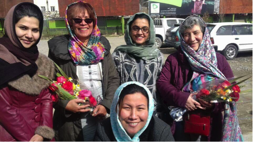 A delegation from the Afghan Midwives Association greets Frances Day-Stirk, president of the International Confederation of Midwives, in Kabul. Shown here Pashtoon Zyaee, ICM Technical Midwife Advisor and founder of the AMA, President Feroza Mushtari, Vice-President, Masooma Jaffry and Amina Sultani, Treasurer.