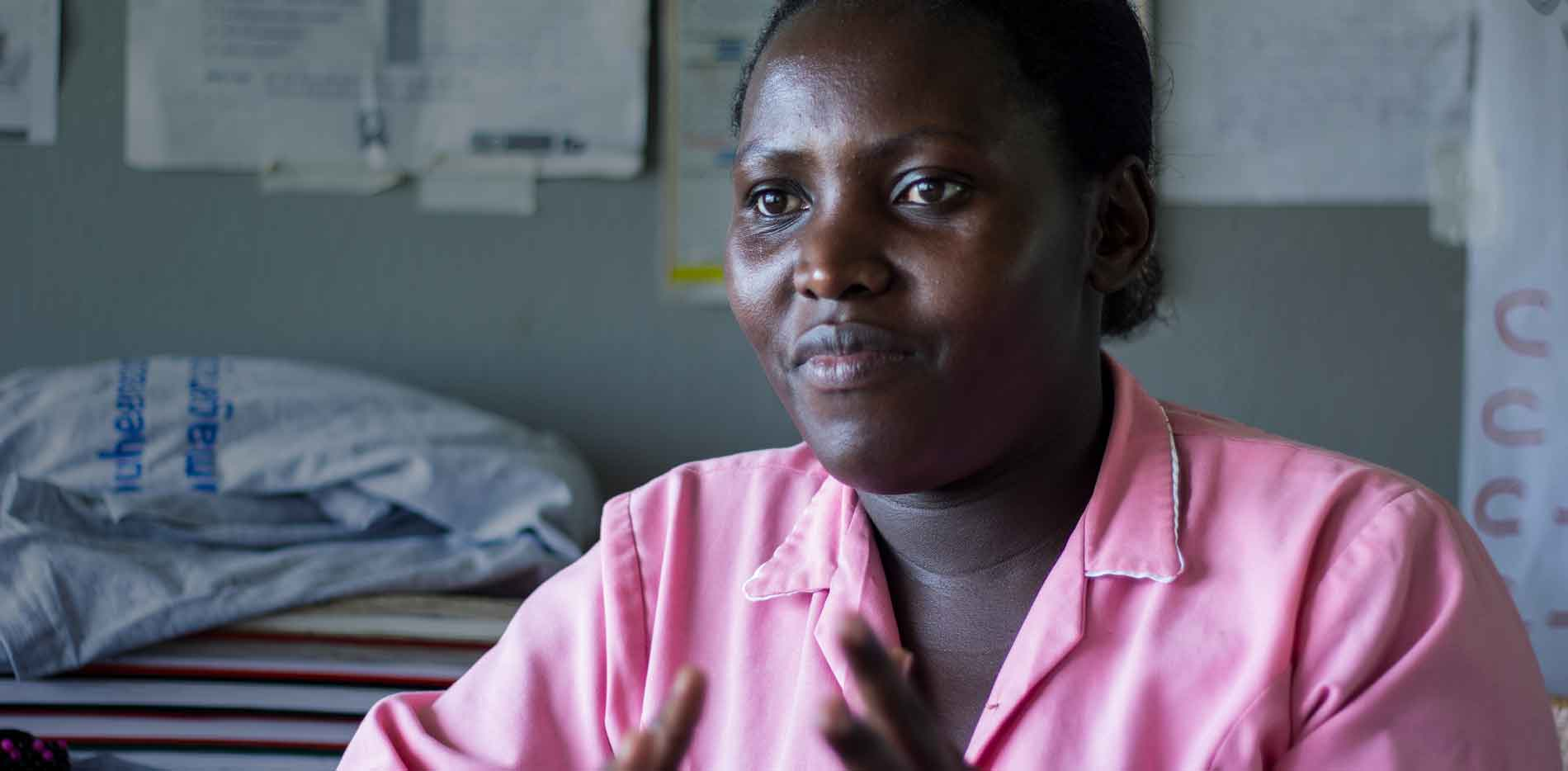 Monic Babirye, a midwife at Kikowa Health Center in Uganda