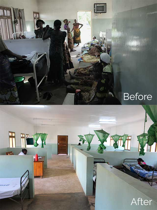 Before and after the maternity ward renovations