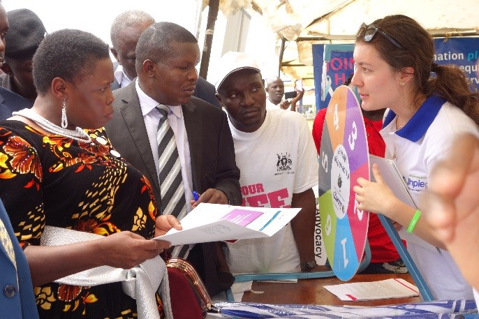 Jhpiego staff in Uganda participate in Ministry of Health-sponsored event to mark World Contraception Day.