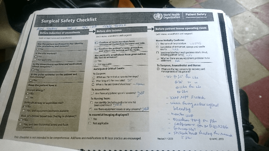 page in Surgical Safety Checklist