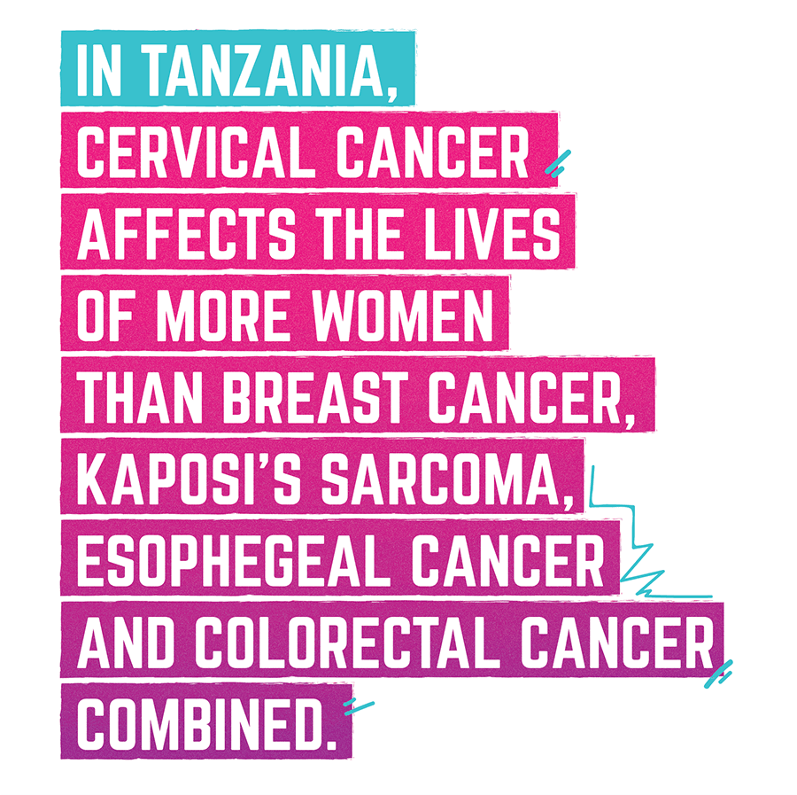 In Tanzania, cervical cancer affects the lives of more women than breast cancer, Kaposi's sarcoma, esophageal cancer and colorectal cancer combined.