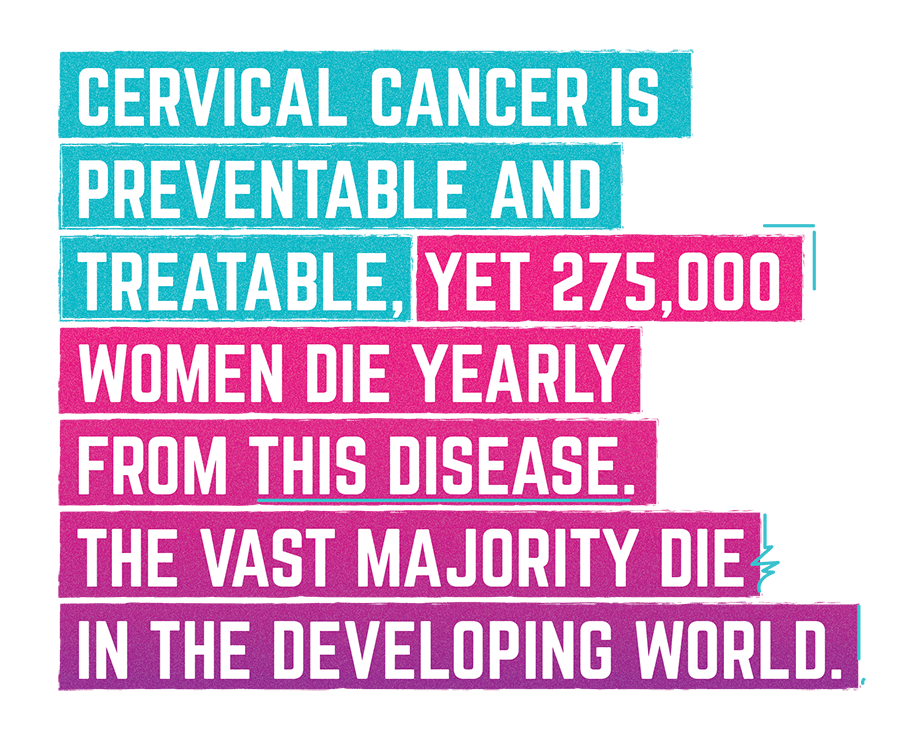 Cervical cancer is preventable and treatable, yet 275,000 women die yearly from this disease. The vast majority die in the developing world.