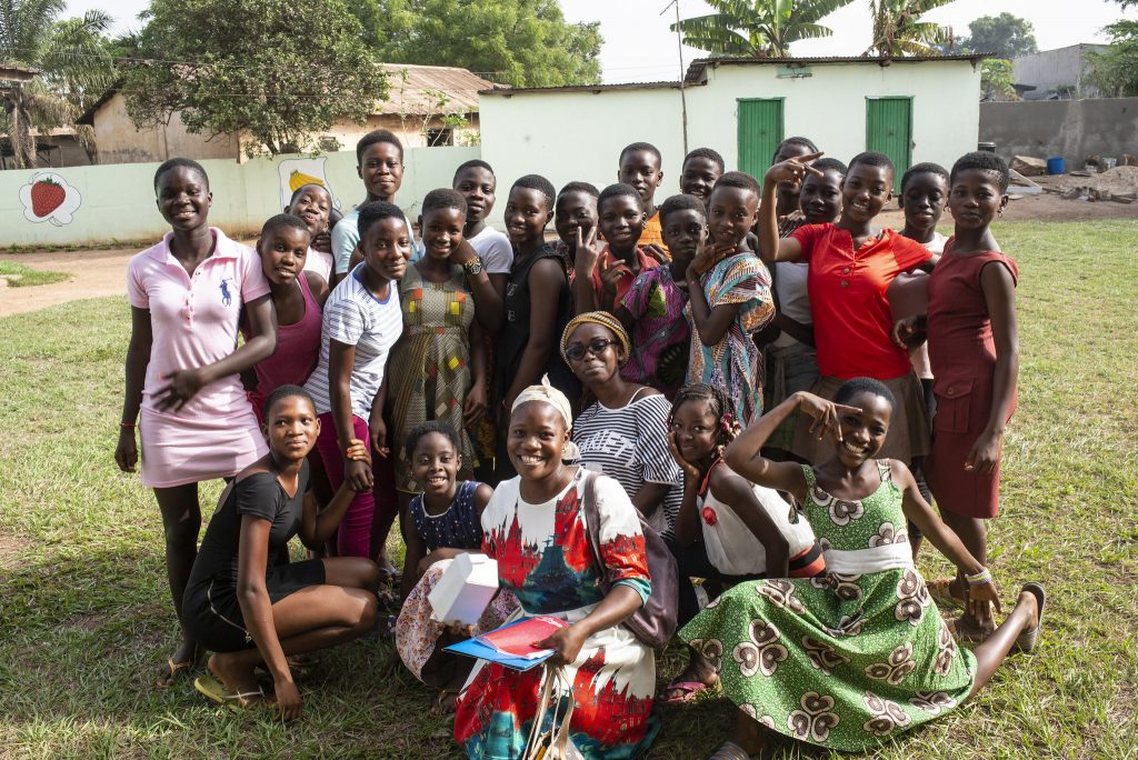 Group of girls posing for a photo in Daloa, Cote D'Ivoire.