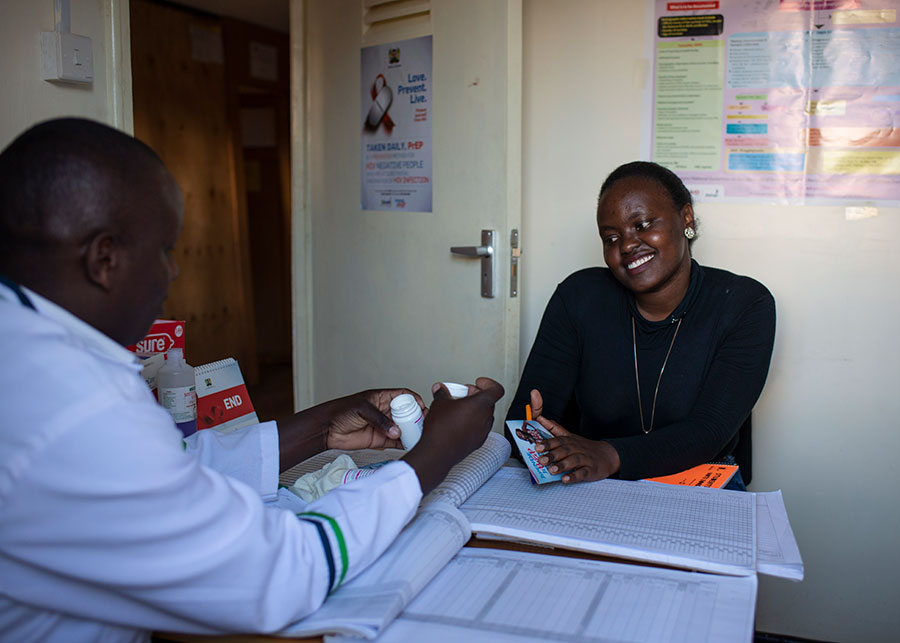 Health care worker and a patient during a consultation