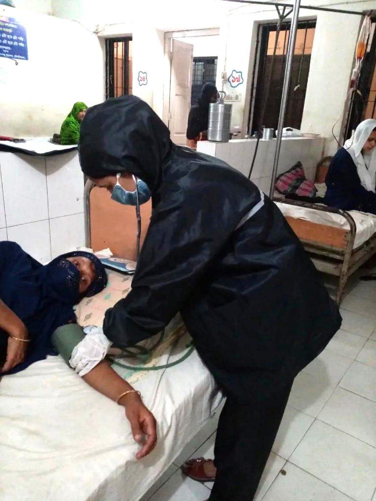 Nurse attends mother